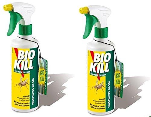 BIO KILL - INSETTICIDA SPRAY FORMULA CLASSICA 2 CONFEZIONI DA 500 ML  efficace contro tutti gli insetti a sangue freddo  spray  contro mosche  cimici  formiche  scarafaggi  zanzare