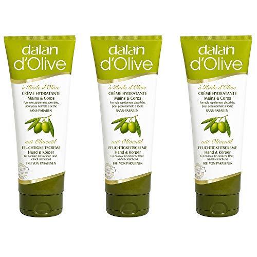 Dalan d'Olive Feuchtigkeitscreme Hand und Körper, 3er Pack (3 x 75 ml)