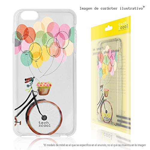 Techcool® Funda Silicona para Xiaomi Redmi Note 5A / 5A Prime [Gel Silicona Flexible [Diseño Exclusivo, Impresión Alta Definición] Bicicleta Globos Transparente
