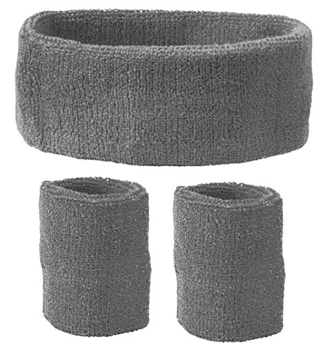 Schweißband Set 3 tlg. Für Kopf und Arm - grau