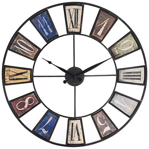 Uhr Metall Antik 60cm Wanduhr Dekouhr Wand Uhr Büro Wohnzimmer Metalluhr Retro (Uhr Antike Wand)