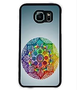 PRINTVISA Rangoli Pattern Premium Metallic Insert Back Case Cover for Samsung Galaxy S6 Edge - D6119