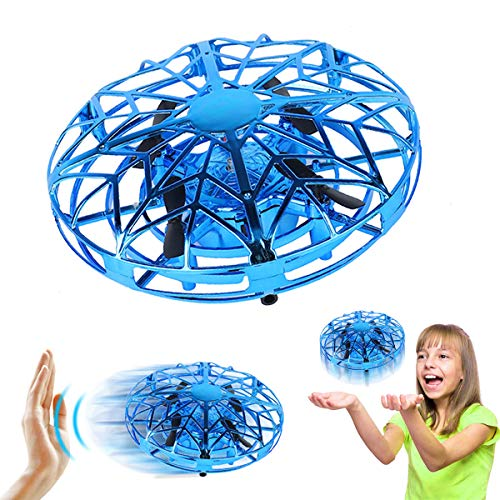 Joy-Jam Toys for 3-10 Year Old Boys Flying Ball Mini Drone for Children Air Magic Hogs Hand Controlled UFO Flying Toys Remote Control Helicopter Outdoor & Indoor Games for Kids with LED Lights Blue