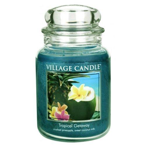 Glas Kokosmilch (Village Candle Tropische Flucht Duftkerze im Glas 737g, blau, 10.2 x 10.1 x 16.5 cm)