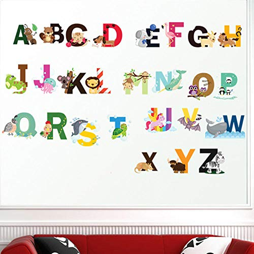Yirenfeng Wandaufkleber Cartoon Buchstaben Kinderzimmer Dekoration Transparent Pvc Kinder Alphabetisierung