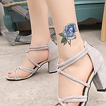TAFLY Floraison Bleu Rose Fleur Tatouages Temporaires Corps Étanche Transfert Tatouage Autocollant 5 Feuilles