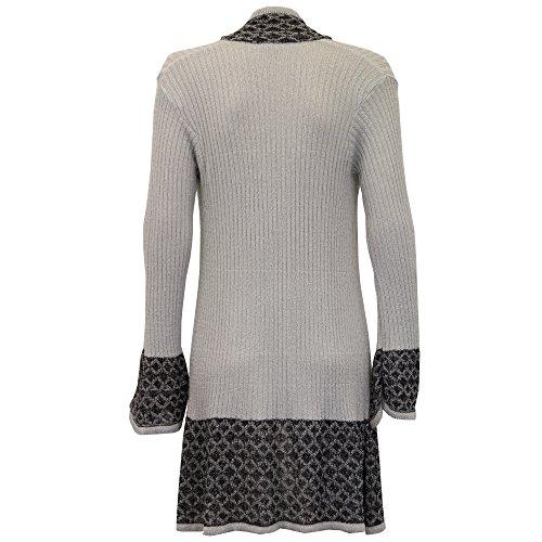 Femmes Crochet Cardigans Tricotés Drawcord Manche Longue Boyfriend Été Gris - sadialong