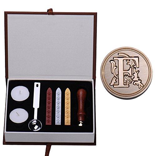 MING, timbro in ottone con manico in palissandro, lettera dell'alfabeto A-Z, in stile vintage e ceralacca Type F