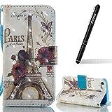 Slynmax Coque iPhone 5/5S/SE,Tour Eiffel Motif Peint Mode PU Cuir Housse de...