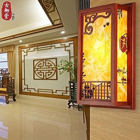 XiangMing Chino Artes apliques de madera vitela restaurante salón dormitorio pasillo apliques ,40*22*10cm pasillo