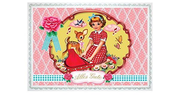 A6 postcard for sisters in old pink gloss look paper threaded 235gm2 gift for future aunts
