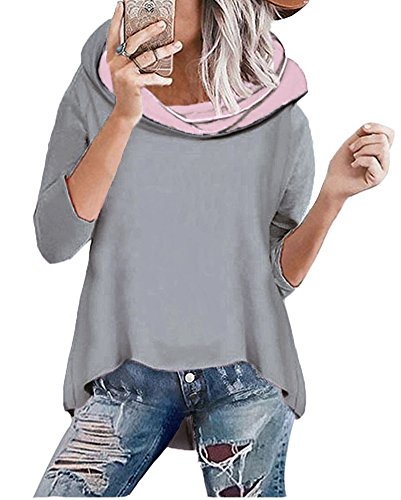 ShallGood Damen Mode Kapuzenpullover Rosa Hoodie Hoher Kragen Langarm Pullover Sweatshirt Mit Kapuze - Herbst Winter Grau DE 36 (Jacke Heavy Jersey)