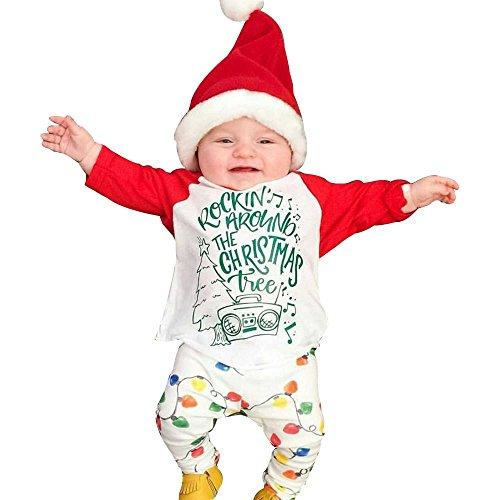 Kleidung Baby Longra 1 Set ( 0-24 Monate ) Baby Mädchen Brief drucken Anzug ( T-shirt Tops+ Hosen) Herbst Babykleidung Weihnachten Suit Outfits (White, 90CM 18Monate) (Kleinkinder Weihnachten Für Anzüge)