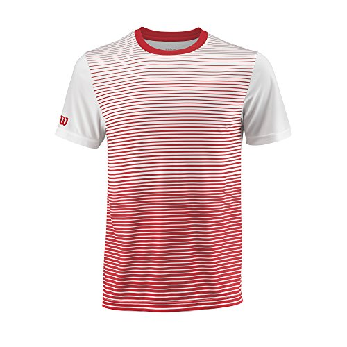 Wilson Herren Tennis-Kurzarmshirt, M Team Striped Crew, Polyester, Rot/Weiß, Größe: L, WRA769704 -