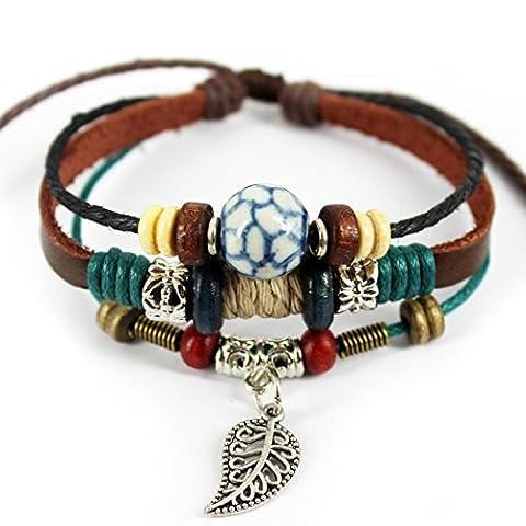 Plus amusant Pierre Soccer Figure Perle trois couches Bracelet en cuir souple avec feuille
