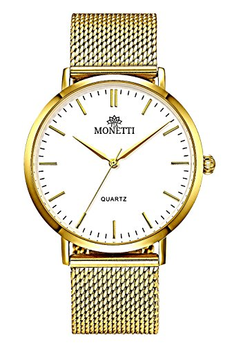 MONETTI Unisex reloj de cuarzo analógico con brazalete de metal de oro en una exclusiva caja de regalo