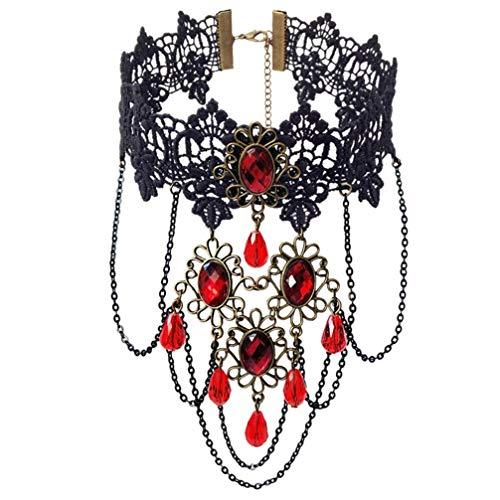 WANZIJING Vintage Lace Choker Halskette für Frauen gefälschte Accessoires Halskette Aussage Halskette Hochzeit Schmuck ()