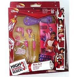 Flash Superstore authentique Disney High School Musical Music Pack of Rouge in ear casque stéréo, câble bien Rangé et Pouch/Case/Cover/Chaussettes adapté pour HTC Smart
