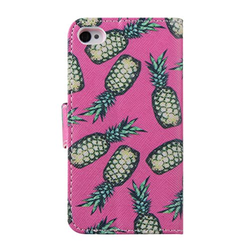 iPhone 4S Hülle, iPhone 4 Hülle,ISAKEN iPhone 4S Hülle Case,Handy Case Cover Tasche for iPhone 4S / iPhone 4, Bunte Retro Muster Druck Flip PU Leder Tasche Case Hülle im Bookstyle mit Standfunktion Ka Ananas