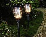 Solarleuchten Garten Fackeln Gartenbeleuchtung Flickering warmlicht IP65 wasserdichte Outdoor Deko Beleuchtung für Balkon Garten Pfad Landschaft Hofen Rasen Fahrweg (2er Set)