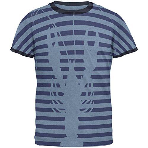 Old Glory Hummer Navy Nautische Streifen Herren Ringer T-Shirt Heather Blue-Navy LG