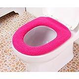 UEETEK Weiche O-förmigen Bad wärmer waschbaren Stoff WC Sitzbezug Pad Matte Rose rot