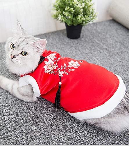 Party Haustier Kostüm Tierbedarf Sonstiges neue Katzenkleidung Winter Tang passt sogar britischen kurzen Garfield Haustieren Herbst und Winter neuen dicken Baumwollmantel (Farbe: rot, Größe: S) Pet Un