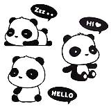 Daorier Lot de 3 pcs Interrupteur Décorations Autocollant Mural Panda Commutateur Socket Décoratif Autocollants de voiture Stickers muraux Créatif Drôle Imperméable Amovible Décorations Stickers