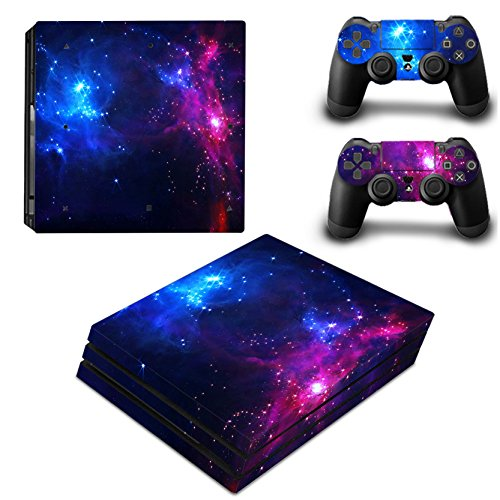 Morbuy Ps4 Pro Skin Consola Design Foils Vinyl Pegatina Sticker Decal And 2 Playstation 4 Pro Dualshock Controlador Skins Set (Double Starry)
