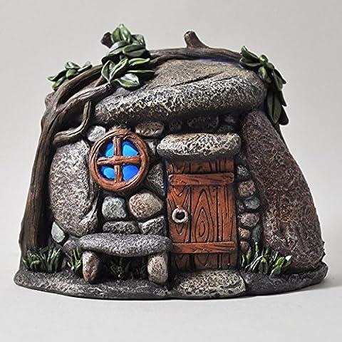 Fata Giardino Pebble House mistico Magico con Luce a LED per interni, funzionamento a batteria elfo Pixie casa 16cm