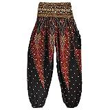 Shujin Damen Sommer Boho Harem-Stil Pumphose mit Pfauendruck Blumenmuster Pluderhose Sommerhose Yoga Pants Aladin Freizeithose