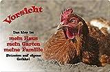 +++ HUHN Hühner - Metall WARNSCHILD Schild Stallschild Sign - UHN 02 T1