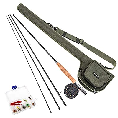 Lixada Fly Fishing Rod and Reel Combo with Carry Bag 9ft Fishing Rod Fishing Reel with Line 10 PCS Flies Complete Starter Package Fly Fishing Kit