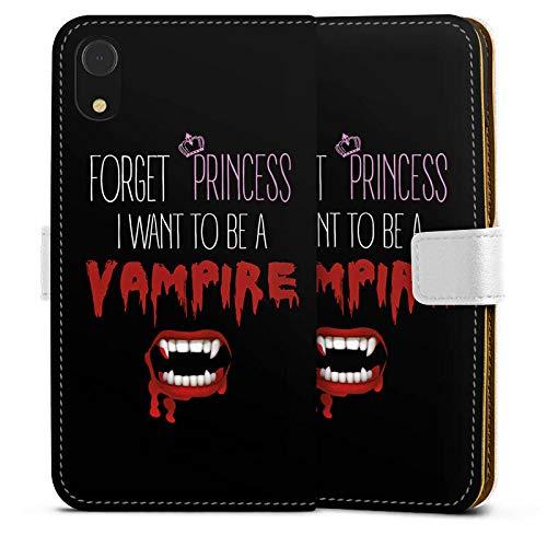 mpatibel mit Apple iPhone Xr Leder Flip Case Ledertasche Hallowen Spruch Vampir ()