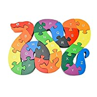 ICEBLUEOR Alphabet Jigsaw Puzzle Wooden Snake Letters Numbers Block Educational Toys for Preschool Children Kids to Develop Intelligence