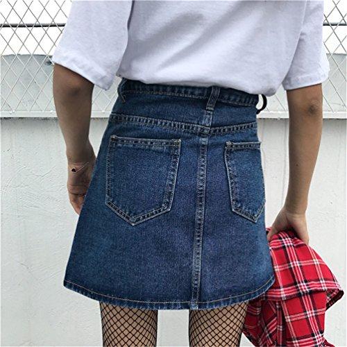 Frauen Elegante College Wind mit hohen Taille Slim Fit Zipper Denim A-Linie Rock mit Taschen Dunkelblau
