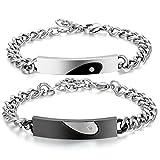 JewelryWe Schmuck ein Paar LOVE Herz Armband mit gravur Edelstahl bicolor Armbänder , schwarz silber partnerarmband mit Zirkonia für Lieben Partner