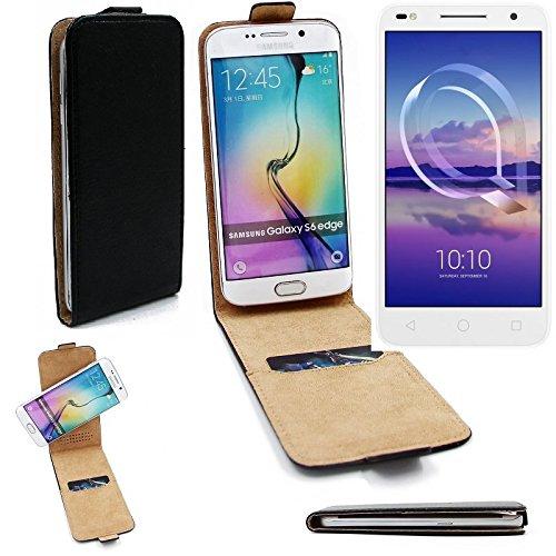 K-S-Trade Für Alcatel U5 HD Dual SIM Flipstyle Schutz Hülle 360° Smartphone Tasche, schwarz, Case Flip Cover für Alcatel U5 HD Dual SIM