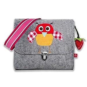 la fraise rouge: Kindergartentasche Filztasche für Mädchen mit Namen & Eule