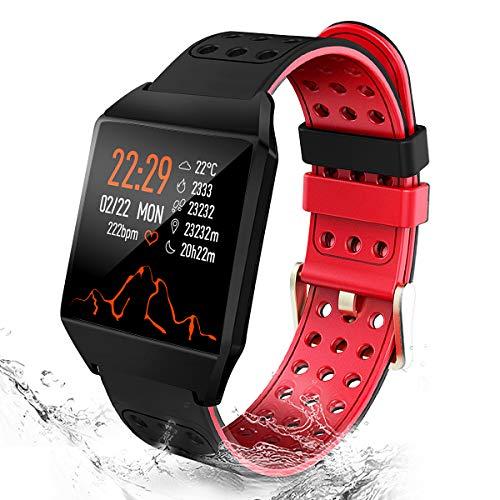 CatShin Fitness Tracker Fitnessuhr CS04 IP68 Fitness Armband Smartwatch Wasserdicht Armband Sport Uhr Activity Tracker für Damen Herren Kinder Schrittzähler Blutdruck Pulsmesser Kalorienzähler-Rot