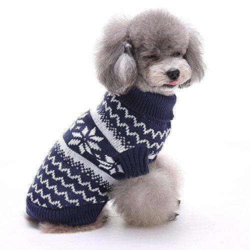 over Hundepulli Winter Strickpullover Sweater Cardigan Weihnachten Fasching Kostüme für kleinen großen Hund Katze Schneeflocke Blau S (Kleinen Hund Halloween-kostüme)