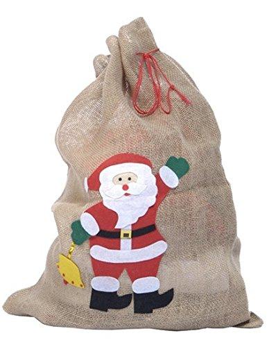 AEC–no2406–sacco di Babbo Natale, in iuta decorata, 50x 70cm