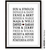 ABOUKI Traumpaar Nr. 7 - Berühmte Paare, personalisierter Kunstdruck mit Wunschnamen - ungerahmt - Fine-Art-Print Poster, Hochzeitsgeschenk, Geschenkidee