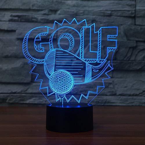 7 Color Change Lighting Golf Ball LED 3d Night Light Creative Home Decor 3D Desk Table Lamp Bedroom Bedside Decor Gifts (Night Light Bälle Golf)