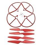 Fytoo 4 x Hauptblätter Propeller+4 x Propeller Schutz Schutzrahmen für Hubsan H501S H501AH501C H501MH501SWH501S Pro Quadrotor RC Drone Ersatzteil-Rot