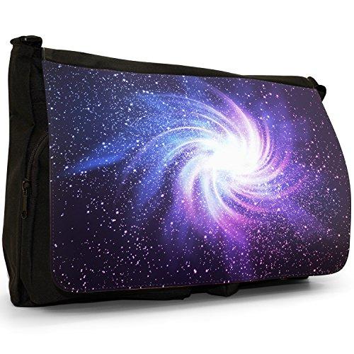 Esplorazione Spaziale–Borsa Tracolla Tela Nera Grande Scuola/Borsa Per Laptop Glowing Galaxy In Black Space