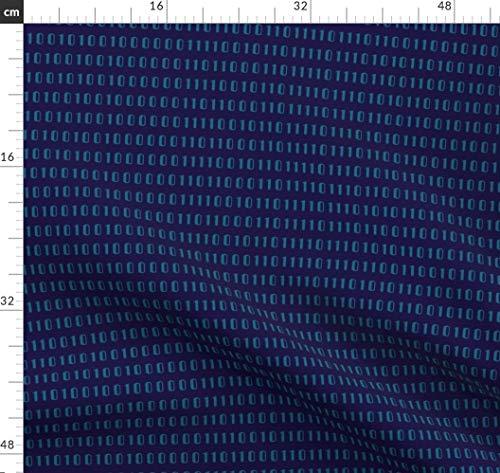 Binär, Zahl, Computer, Roboter, Blau, Code, Verspielt Stoffe - Individuell Bedruckt von Spoonflower - Design von Lellobird Gedruckt auf Seidenimitat Crêpe de Chine