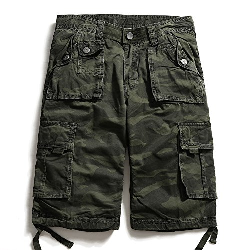 WDDGPZDK Strand Shorts/Kleidung Knie des Länge Männer Camouflage Hosen Casual Tooling Gerader Shorts Cargo Short Multi-Pocket, Grün, 30. (Lange Mesh Pocket Shorts)