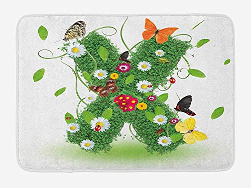 JIEKEIO Letter X Bath Mat, Spring Themed X with Green Leaves Butterflies Daisies Swirls Nature Image, Plush Bathroom Decor Mat with Non Slip Backing, 23.6 W X 15.7 W Inches, Green Multicolor -
