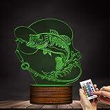 ZCLD Angeln LED 3D Illusion Lampe beleuchtet Zeichen Angeln Big Fish LED Schreibtischlampe Fischer Schlafzimmer Beleuchtung Dekor Geschenk für Liebhaber von Fischen